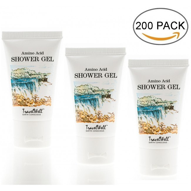 TRAVELWELL Landscape Series Hotel Travel Size Guest Body Wash 1.0 Fl Oz/30ml, Individually Wrapped 200 Tubes per Box