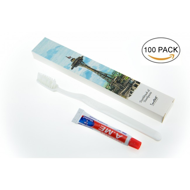 Toothbursh with Toothpaste Kit, 100/Pack