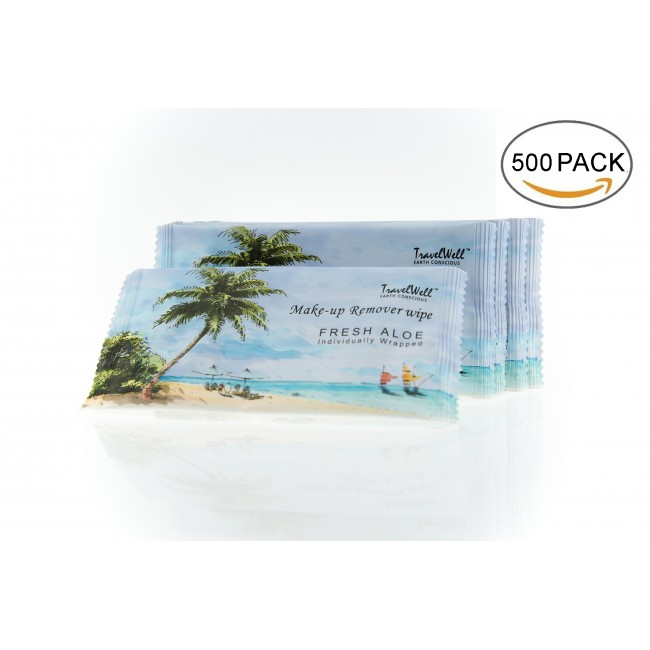 Individually Wrapped Nartural Fresh Aloe Acohol Free Travel Packs Cleanings & Make-Up Remover Wipes 500 count