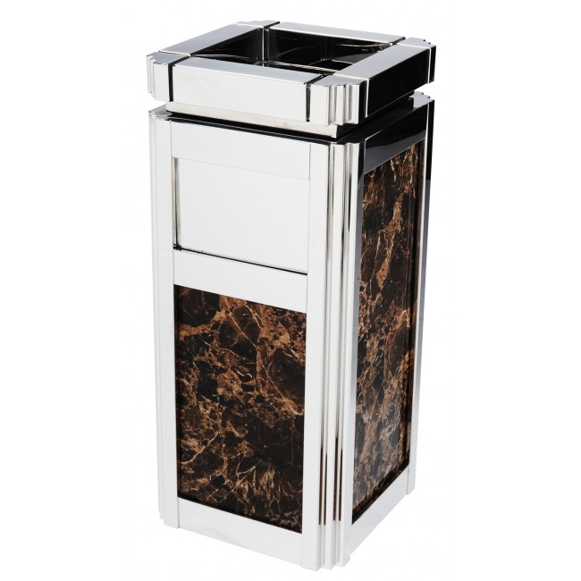 Luxurious Stainless Steel Trash Can Garbage Bin Waste Receptacle with Ashtray