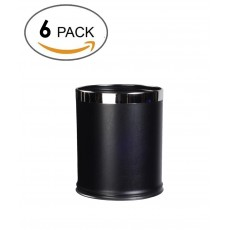 6 pack-Round Shape Faux Leather Metal Trash Can Garbage Bin- 8liter/2gallon