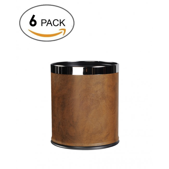 6 pack-Round Shape Faux Leather Metal Trash Can Garbage Bin-8liter/2gallon