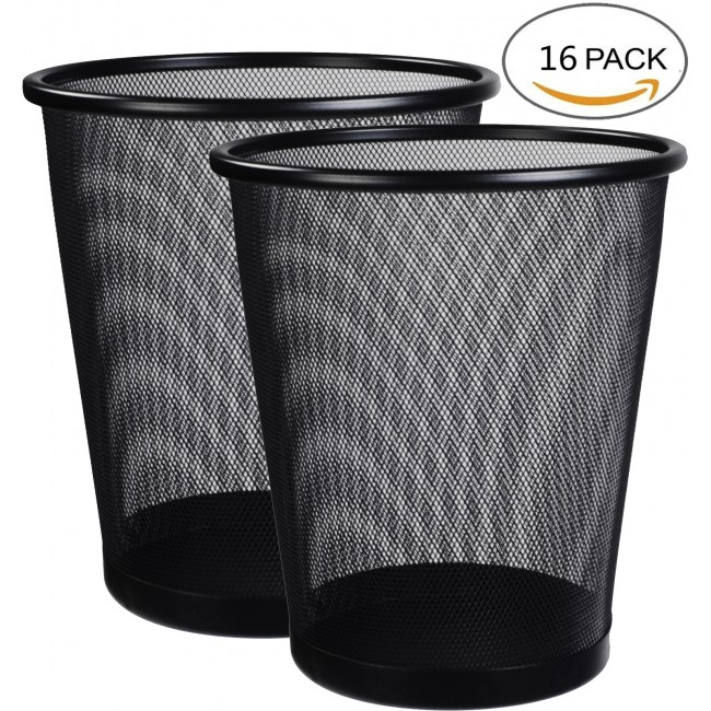 Round Mesh Wastebasket Steel Trash Can Dustbin Garbage Bin, 16 Pack