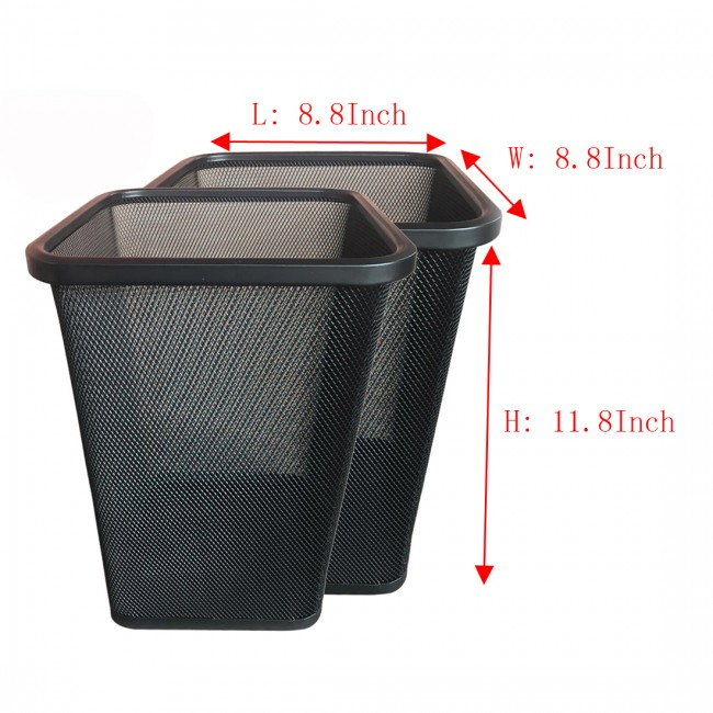 Square Mesh Wastebasket Steel Trash Can Dustbin Garbage Bin, 16 Pack