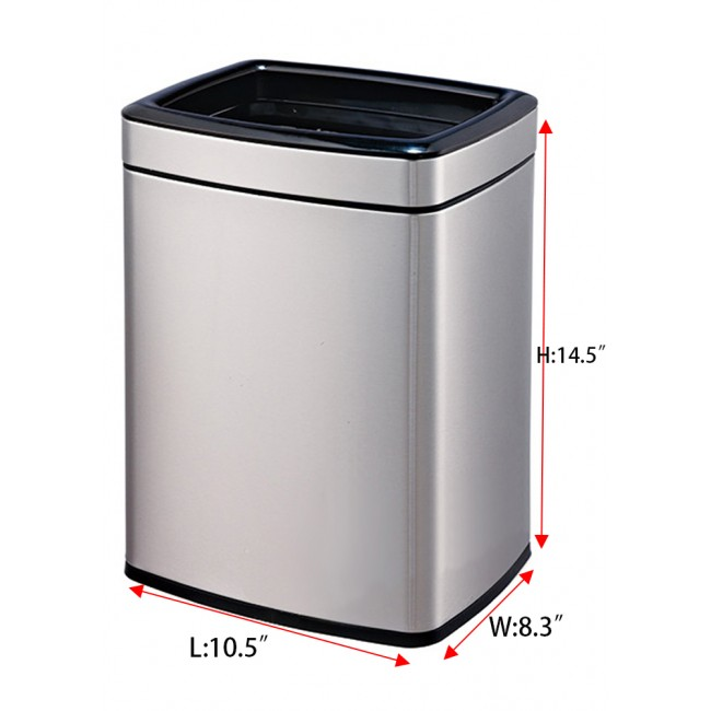 Open Top Metal Trash Can, Rectangle Shape ,12 L/3.2 Gal (Silver)