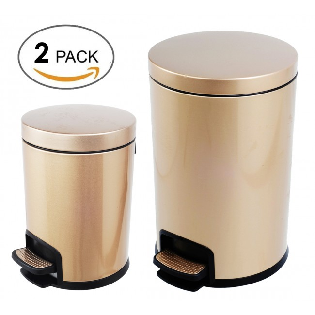 Luxurious Stainless Steel Trash Can Garbage Bin Waste Receptacle(5L +20L)