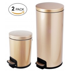 Luxurious Stainless Steel Trash Can Garbage Bin Waste Receptacle(5L+30L)