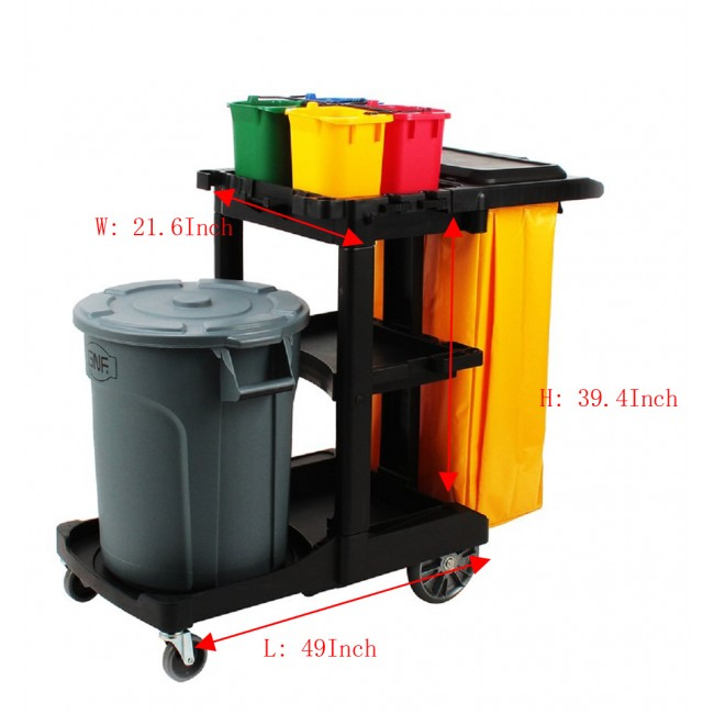 Housekeeping 3-Shelf Cart Plastic Cleaning Utility Cart