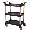 Serving Cart 3-Tier Kitchen Trolley Cart with 2 Buckets and Brake Wheels