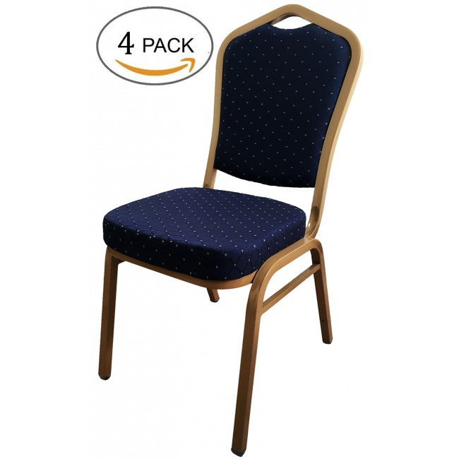 Steel Stacking Banquet Chairs with Thick Seat, 4 Pack