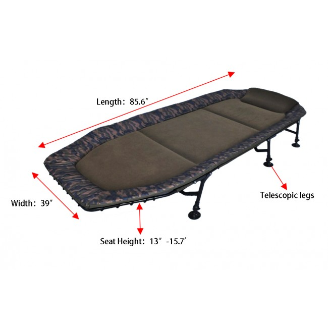 Memory Foam 6-Leg Foldable Camping Single Bedchair Cot