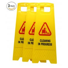 (Pack of 3) 2-Sided Fold-out Floor Safety Sign with Cleaning in Progress