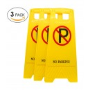(Pack of 3) 2-Sided Fold-out Floor Safety Sign with No Parking