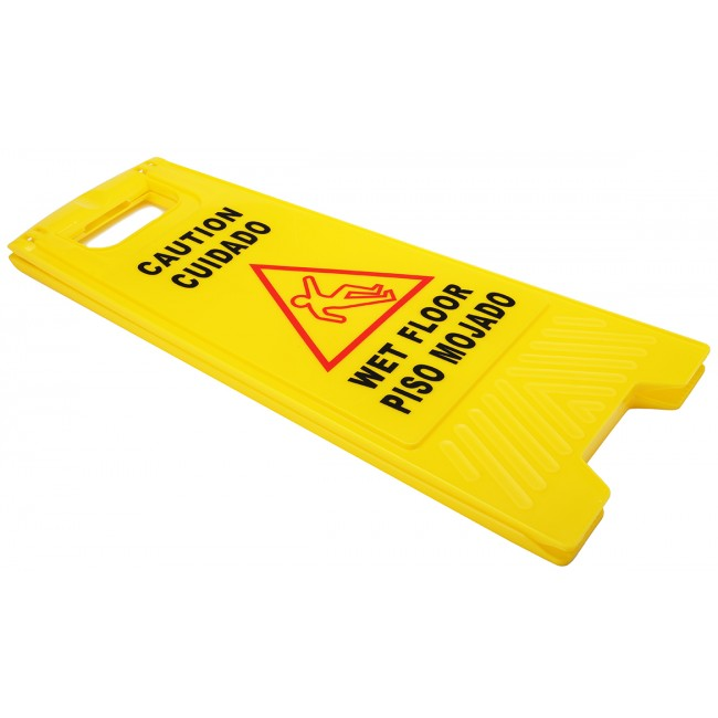 2-Sided Fold-out Floor Safety Sign with Caution Wet Floor Warning Sign, 3 Pack