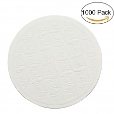 TravelWell Embossed Round 3.54-inch Diameter Non Slip Drink White Paper Coaster Set of 1000
