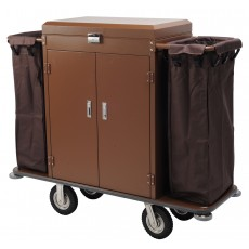 Housekeeping Cart Hotel Utility Serving Cart with 2 Removable Caddies