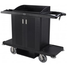 Housekeeping Cart Hotel Trolley Utility Serving Cart with 2 Removable Caddies & Top Storage Shelf
