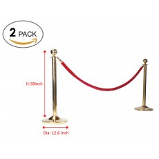 Round Top Polished Brass Stanchion Queue Barrier Crowd Control Barrier Stanchion,2 pack(without rope)