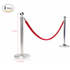 Round Top Polished Stainless Steel Stanchion Queue Barrier Crowd Control Barrier Stanchion, 2 pack(without rope)