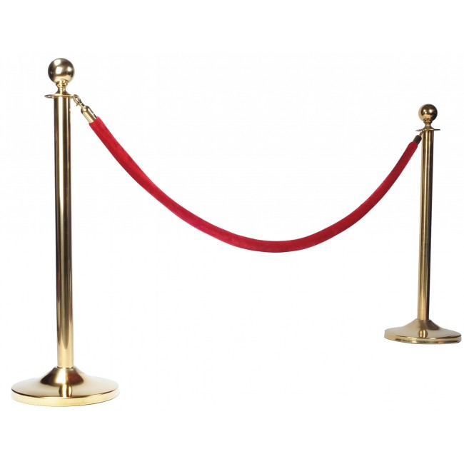 2 pack-Velvet Stanchion Rope Crowd Control Barrier Rope with Brass Hooks ,78.7inch/2 Meter