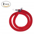 2 pack-Velvet Stanchion Rope Crowd Control Barrier Rope with Stainless Steel Hooks ,78.7inch/2 Meter