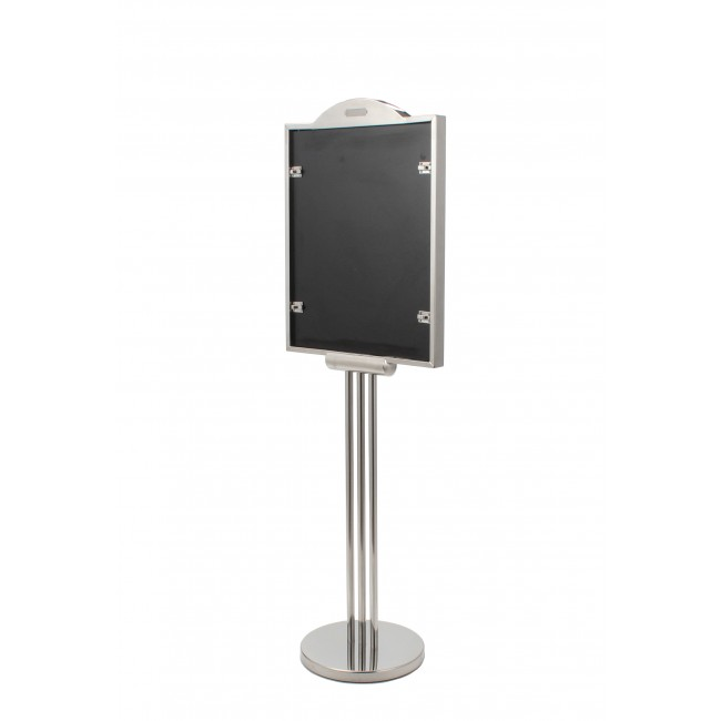 Stainless Steel Poster Stand with Post, Graphics Size 17 X 22 Inches